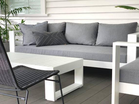 bask sunbrella outdoor suite white close up nz
