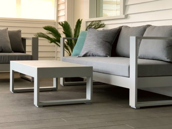 unwind grey aluminium outdoor coffee table