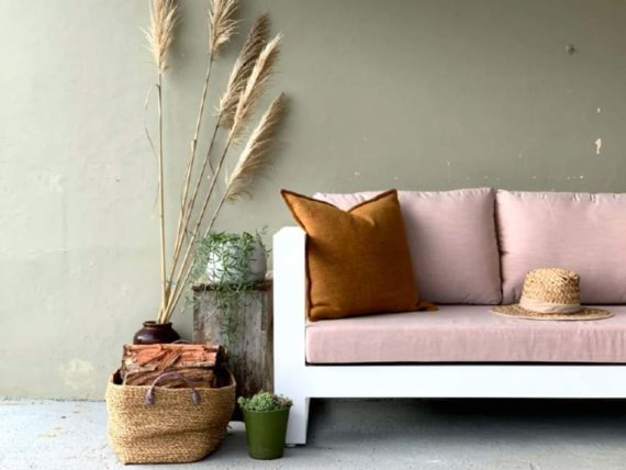 2 seater sunbrella blush outdoor sofa