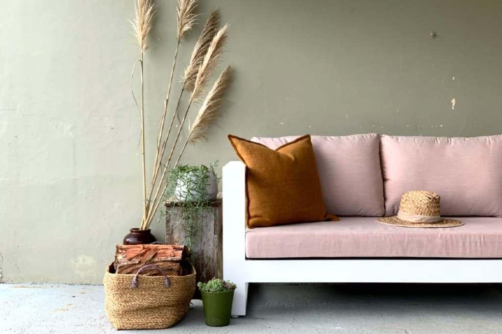 2 seater sunbrella blush outdoor sofa