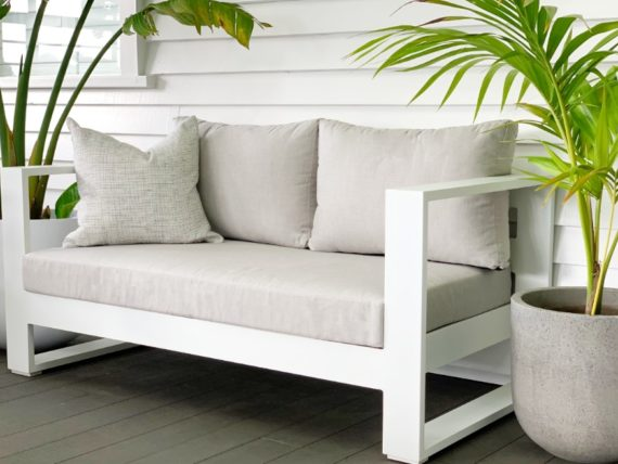 Sunbrella white outdoor loveseatnz