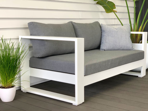 bask sunbrella 2 seater outdoor sofa white- MAIN IMAGE