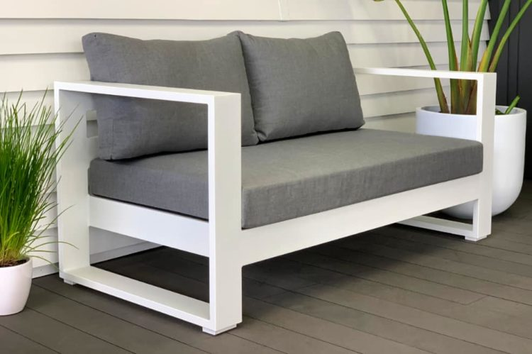 bask sunbrella 2 seater white and grey outdoor