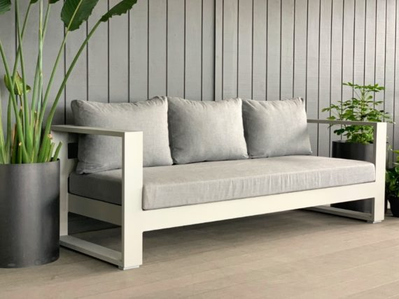 bask sunbrella 3 seater outdoor sofa grey
