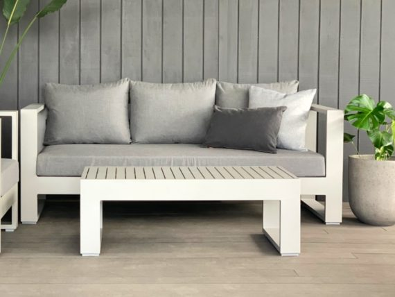 bask sunbrella 3 seater outdoor sofa grey- MAIN