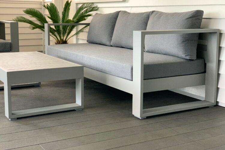 warehouse direct designer sunbrella 3 seater outdoor sofa grey