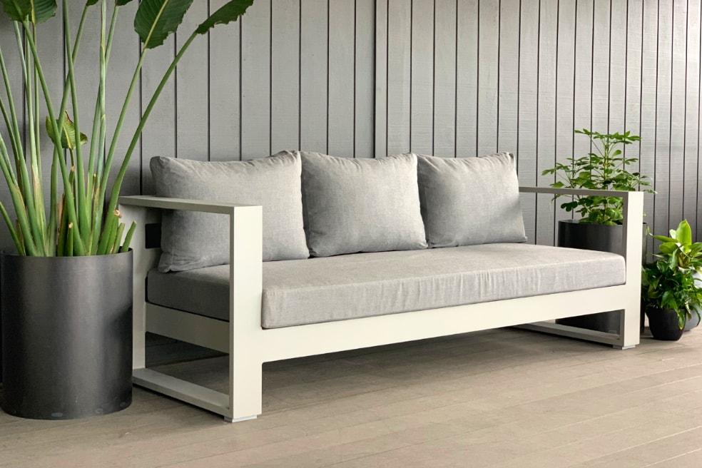 bask sunbrella 3 seater outdoor sofa grey