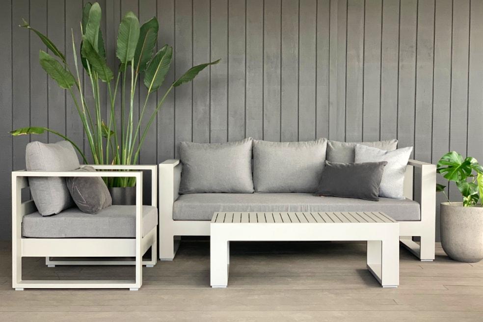 premium quality sunbrella outdoor lounge suite grey Auckland