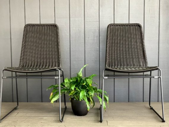 black PE rattan steel outdoor dining chairs nz