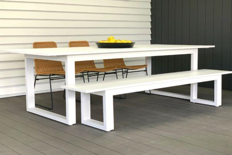 white-aluminium+rattan-bench-seat-nz