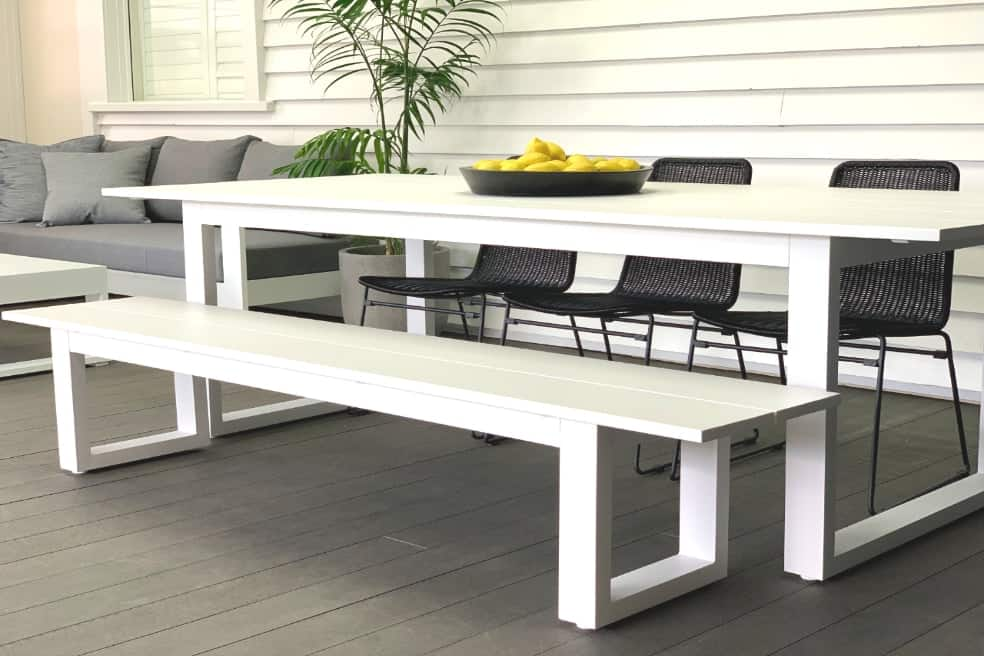 Fantastic The Long Lunch Range Outdoor Bench Seat 2 15 M White Gmtry Best Dining Table And Chair Ideas Images Gmtryco
