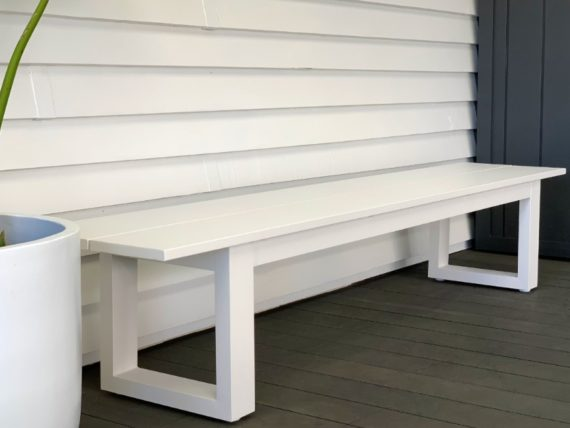 long lunch white aluminium outdoor bench seat nz