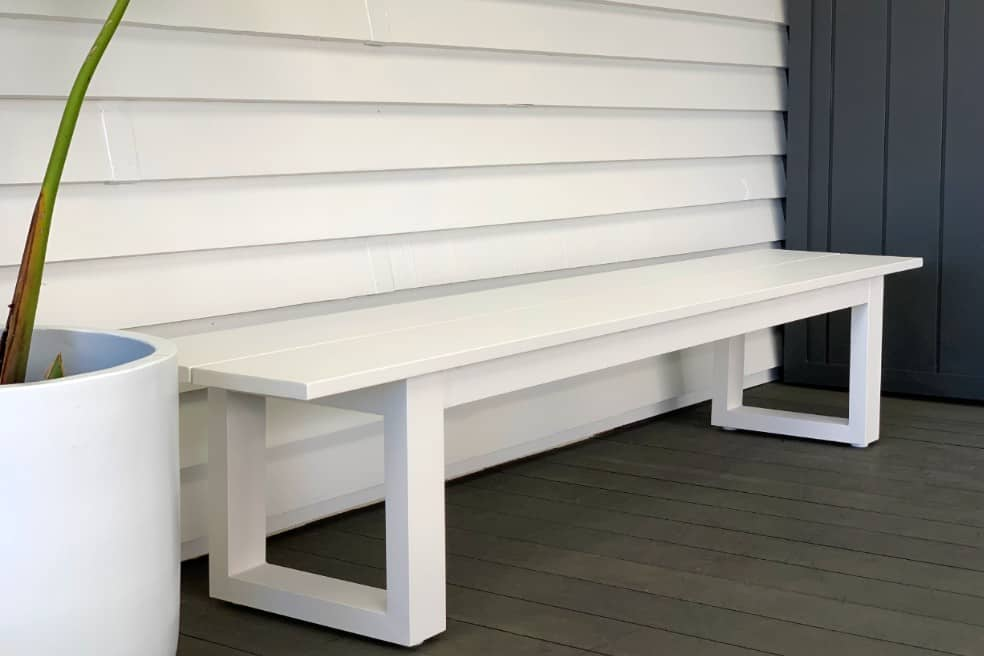 Fabulous The Long Lunch Range Outdoor Bench Seat 2 15 M White Andrewgaddart Wooden Chair Designs For Living Room Andrewgaddartcom