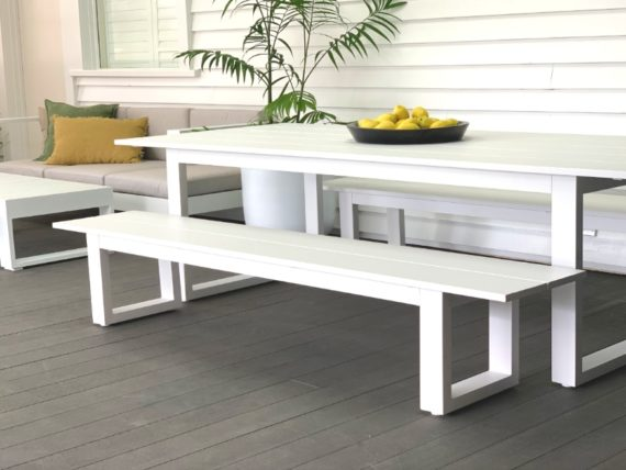 long lunch white aluminium outdoor table-MAIN