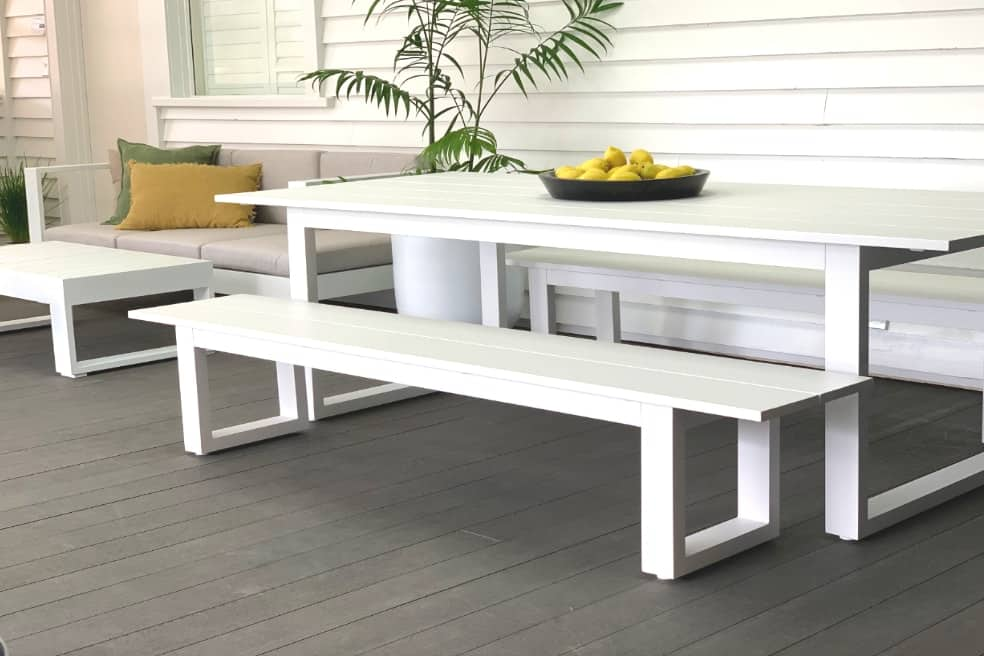 Stupendous The Long Lunch Range 6 To 8 Seater Outdoor Dining Table 2 0M 2 Bench Seats White Andrewgaddart Wooden Chair Designs For Living Room Andrewgaddartcom