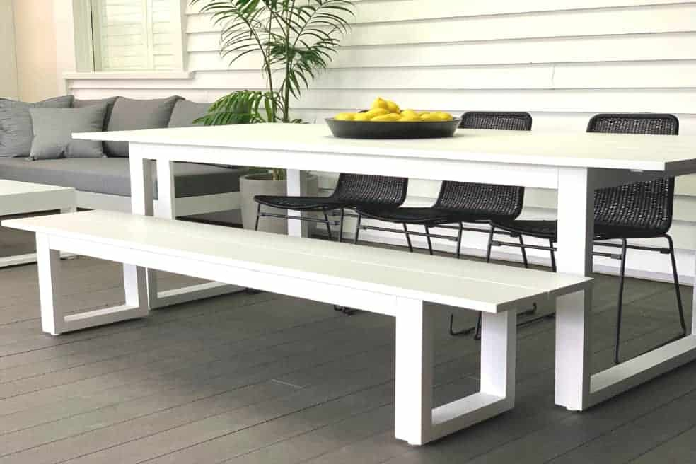 long lunch white aluminium outdoor table -MAIN_1