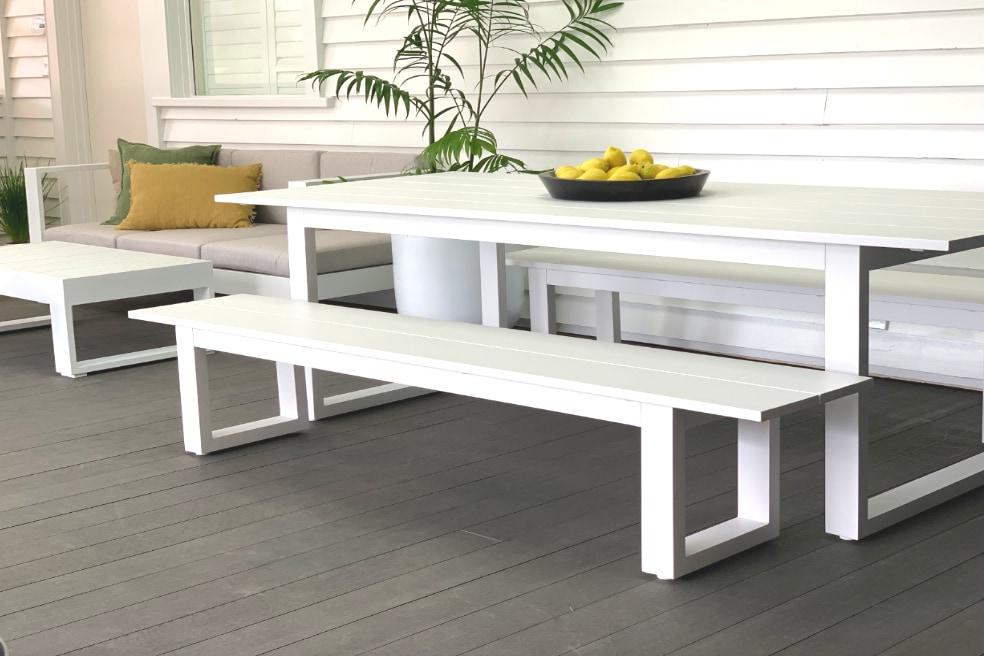 stylish white aluminium outdoor table Auckland