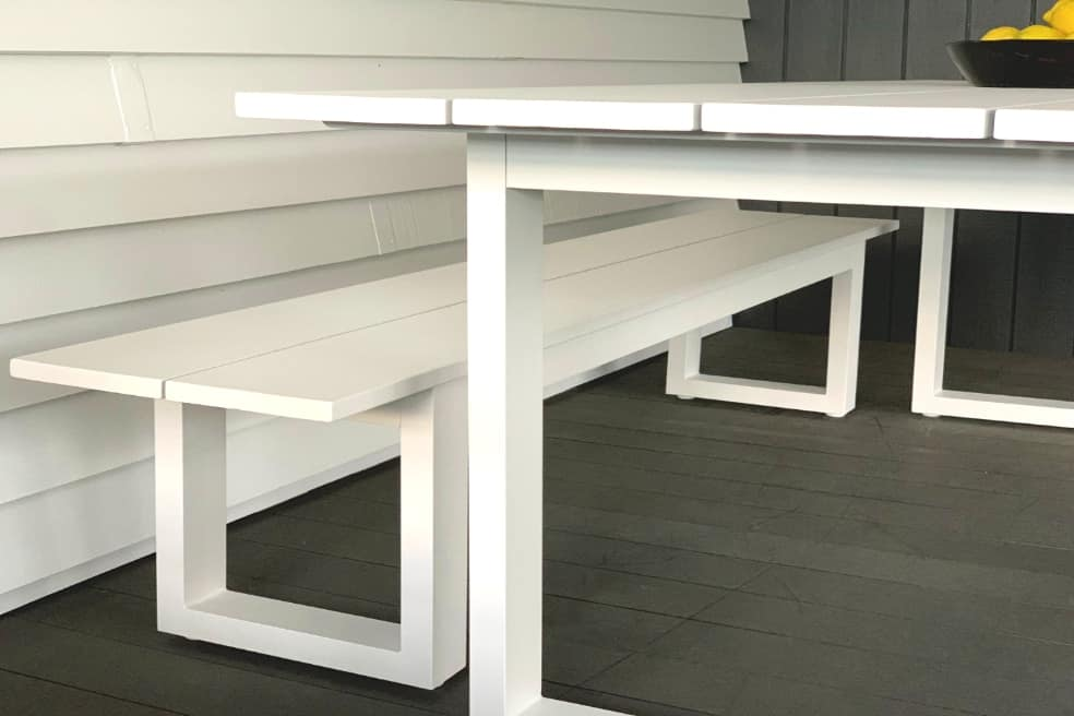 contemporary affordable white aluminium table and two benches Auckland