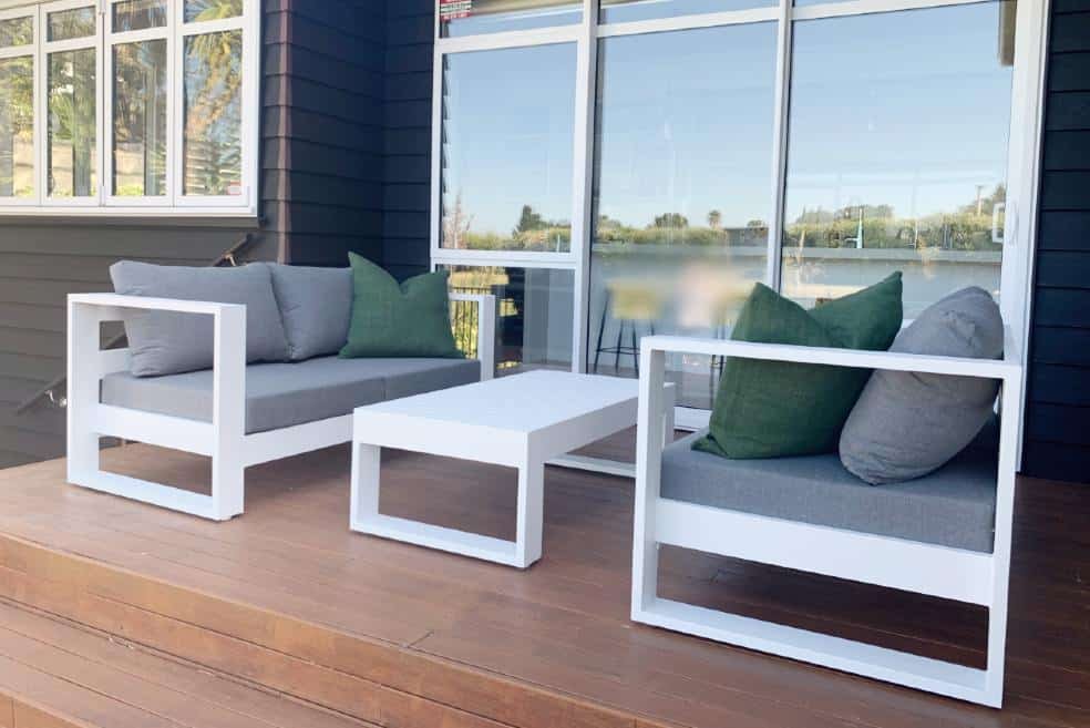 outdoor loveseats white frame grey cushion nz