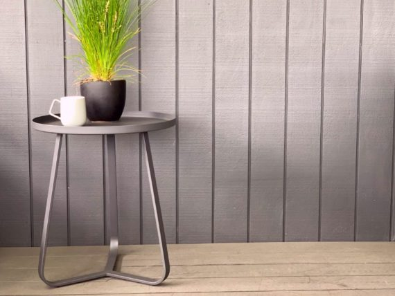 solstice black round outdoor side table