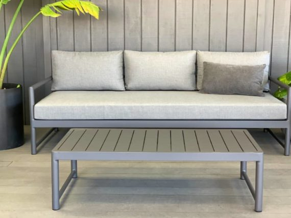 contemporary sunbrella 3 seater outdoor sofa anthracite grey