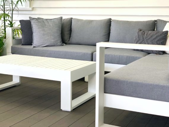 white outdoor corner sofa grey sunbrella cushions nz