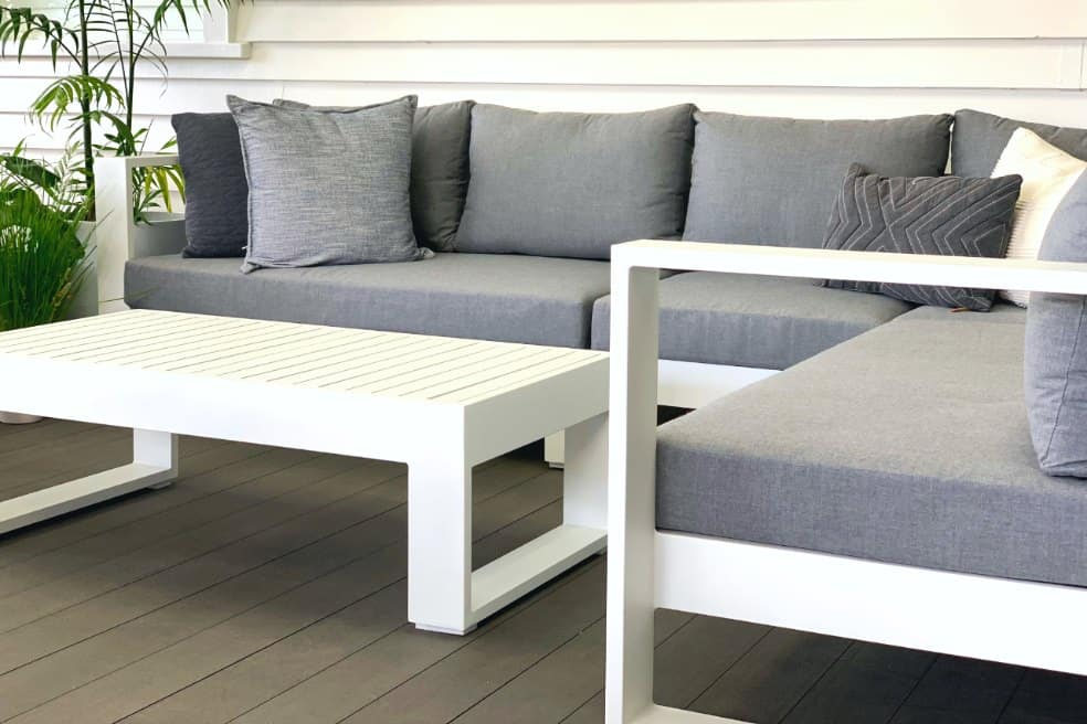 Bask Sunbrella® Corner Modular Sofa & Coffee Table (white frame)