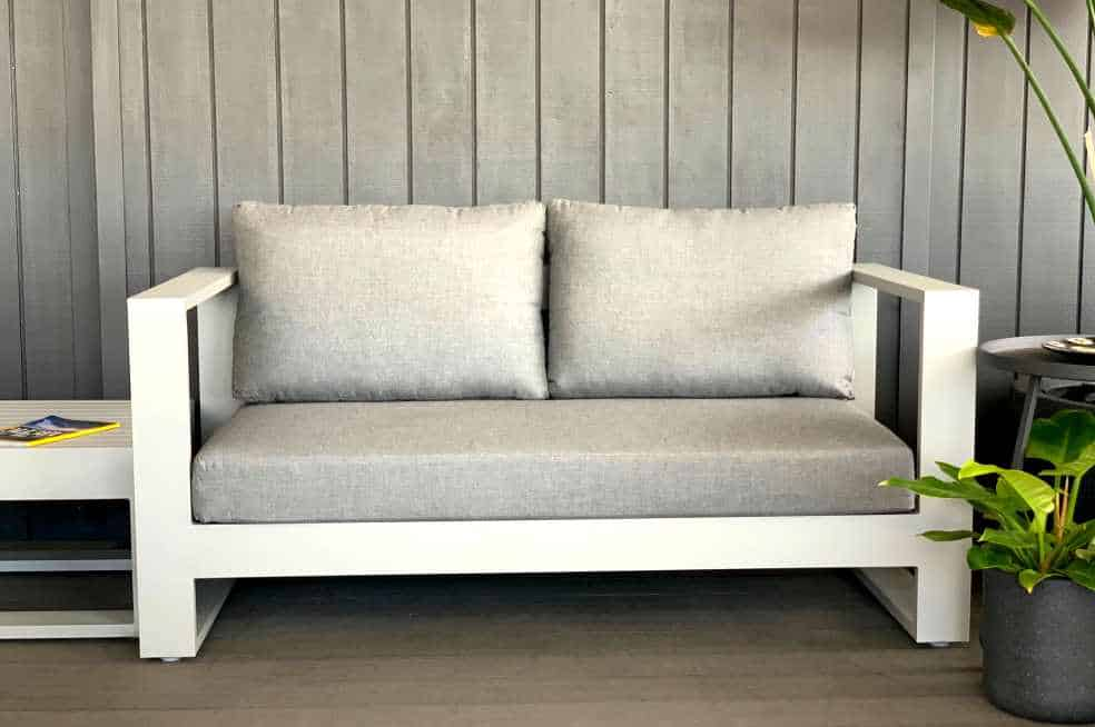 aluminium 2 seater sunbrella grey outdoor sofa nz