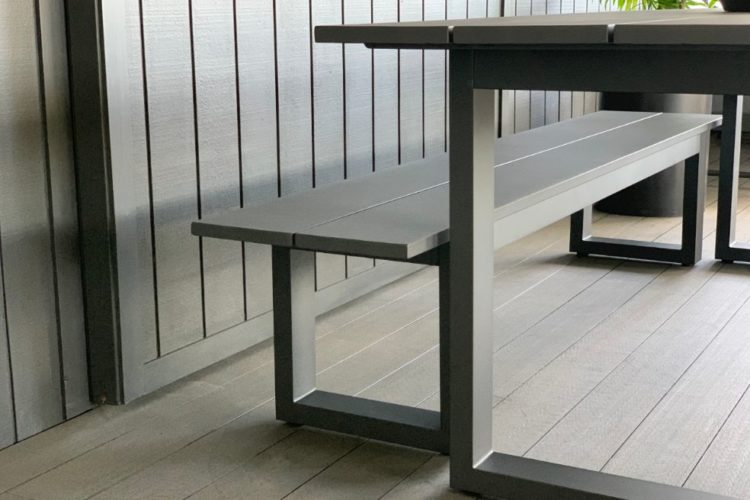 charcoal outdoor table and bench seat nz summer 2021