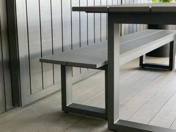 outdoor-aluminium-dining-table&bench-seat