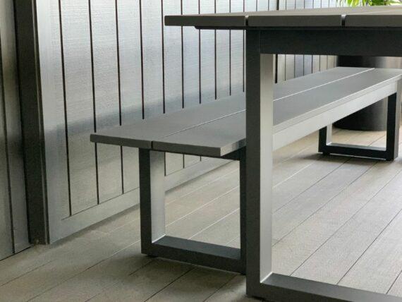 outdoor-aluminium-dining-table&bench-seat