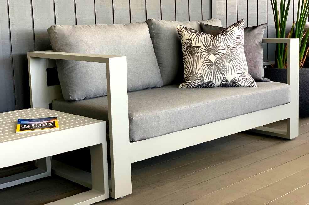modern grey 2 seater outdoor sofa sunbrella