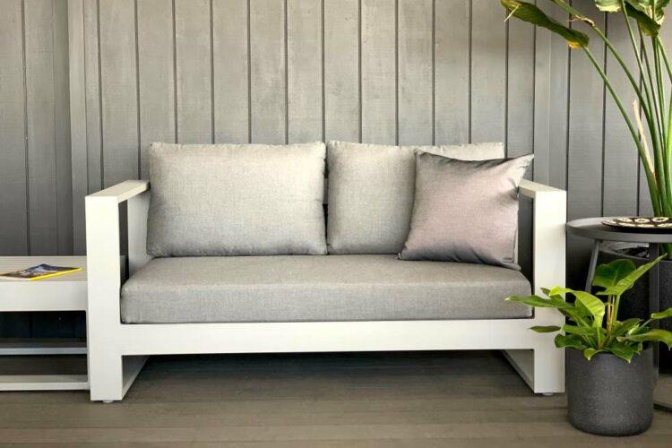 grey aluminium sunbrella 2 seater outdoor sofa nz