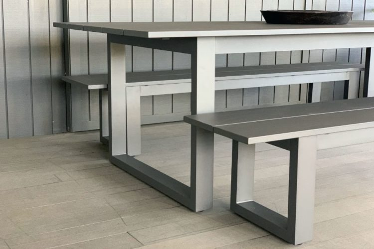 long lunch 8 seater outdoor table and bench seats anthracite aluminium nz