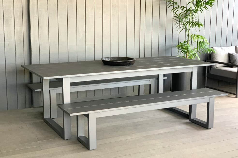 long lunch anthracite aluminium outdoor table and bench seats nz
