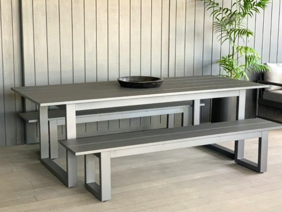 stylish anthracite aluminium outdoor table and bench seats nz