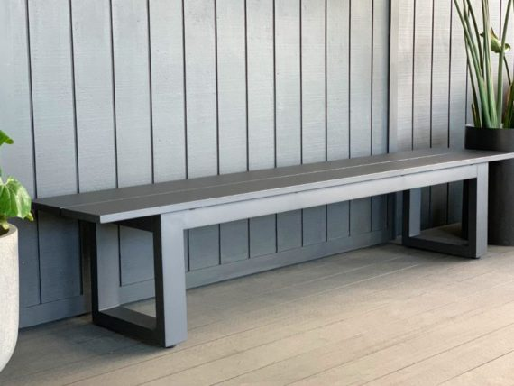 long lunch anthracite grey aluminium outdoor dining bench seat nz