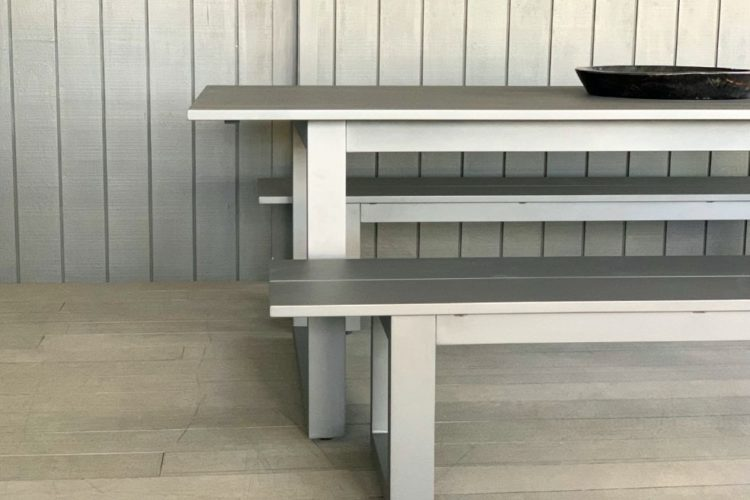 charcoal outdoor aluminium table and bench seats nz