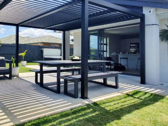 modern dark outdoor table benches nz