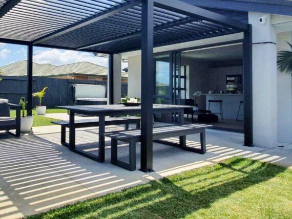 modern dark outdoor table benches nz