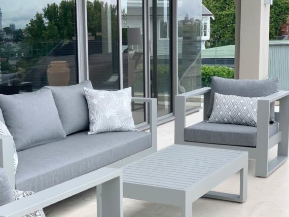 modern outdoor arm chair grey