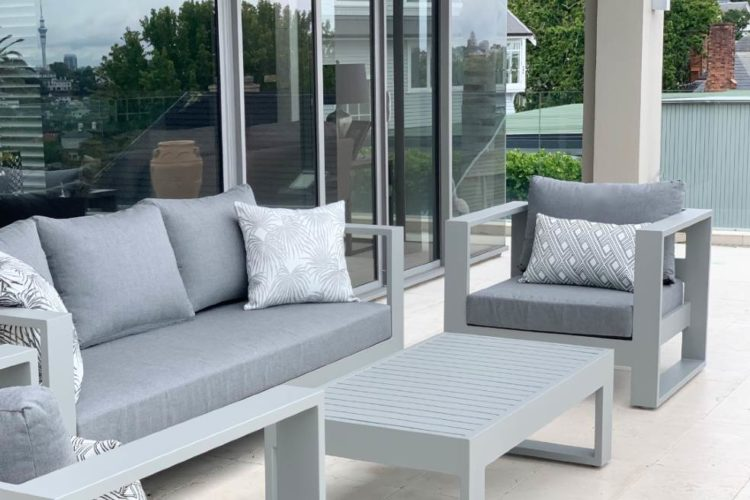 modern outdoor arm chair grey