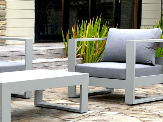modern outdoor arm chair grey frame and cushions