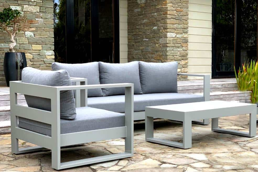 Bask Sunbrella Outdoor Set 3 Seater Sofa Chair Coffee Table Grey Frame Outside Space