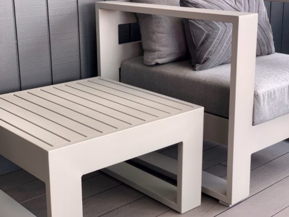 grey square aluminium outdoor side table nz