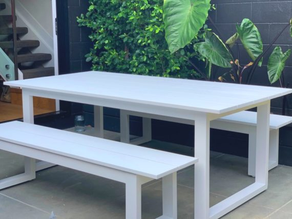 white outdoor 2M table and bench seats nz