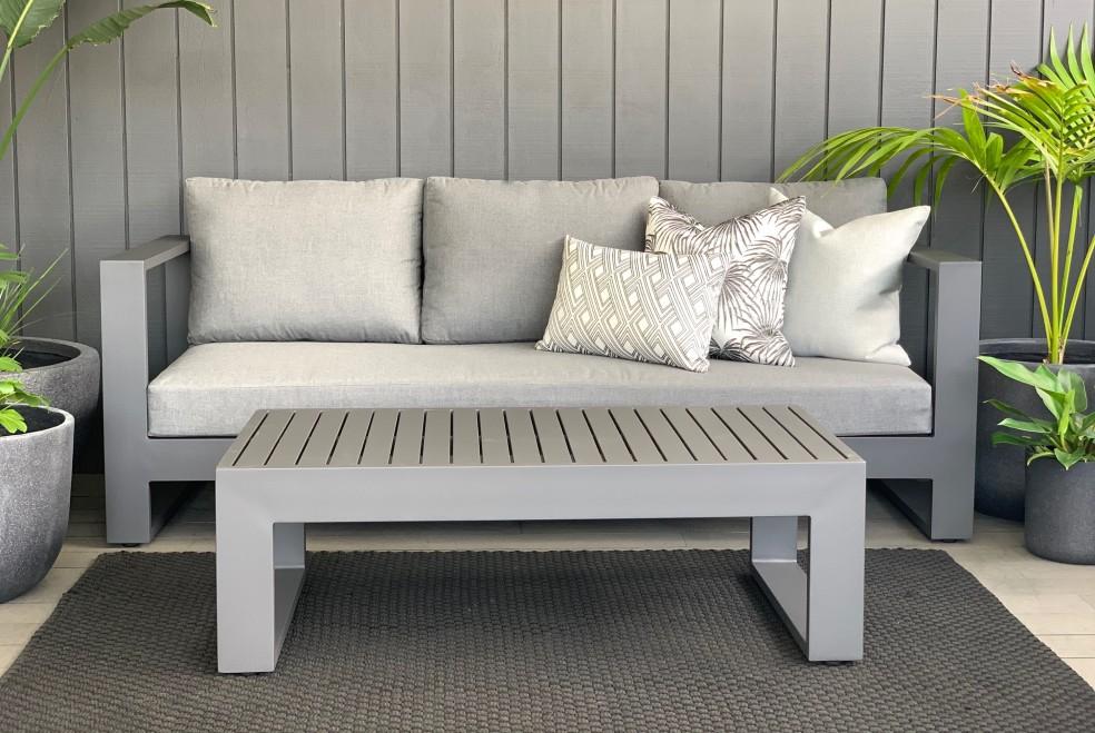 modern charcoal grey outdoor sunbrella sofa