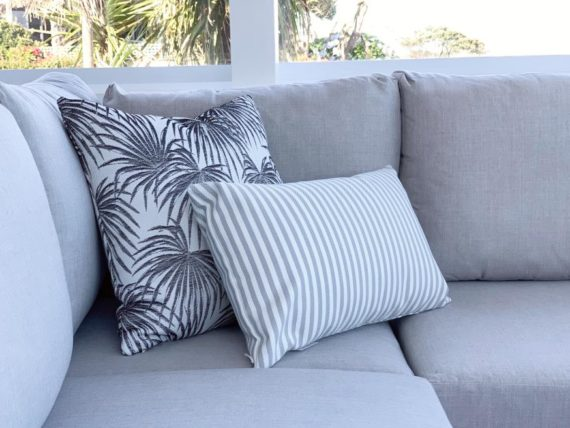 grey striped rectangular outdoor cushion nz
