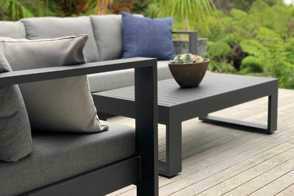 charcoal black outdoor corner lounge suite nz