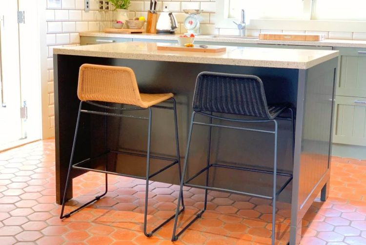 kitchen bar stool black steel frame nz